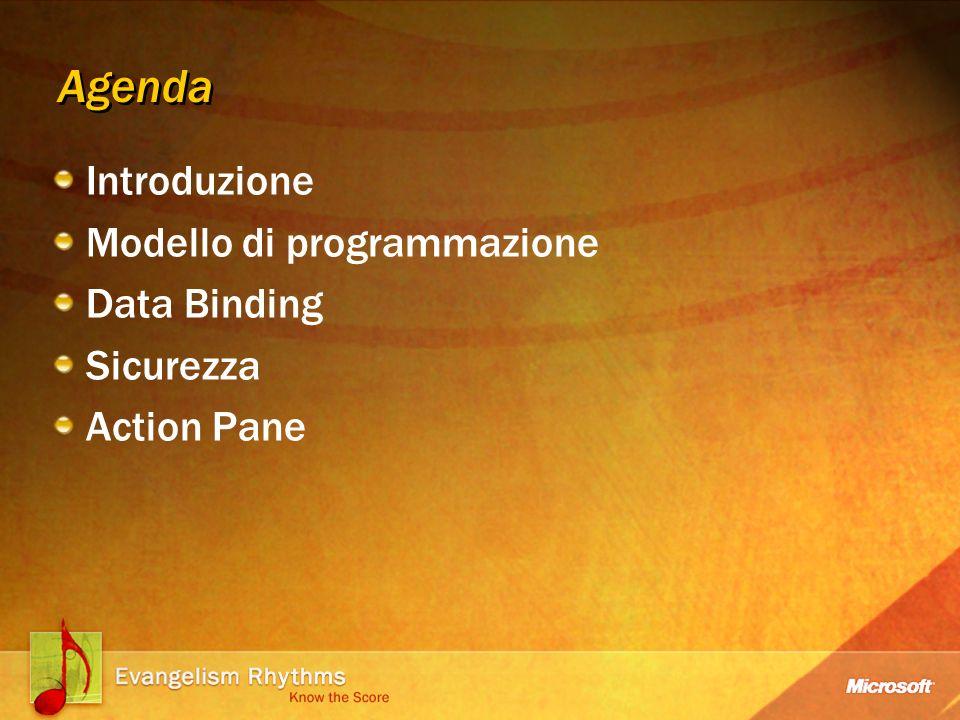 Agenda Introduzione Modello di programmazione Data Binding Sicurezza Action Pane