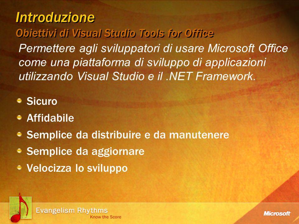 Introduzione Obiettivi di Visual Studio Tools for Office Sicuro Affidabile Semplice da distribuire e da manutenere Semplice da aggiornare Velocizza lo sviluppo Permettere agli sviluppatori di usare Microsoft Office come una piattaforma di sviluppo di applicazioni utilizzando Visual Studio e il.NET Framework.