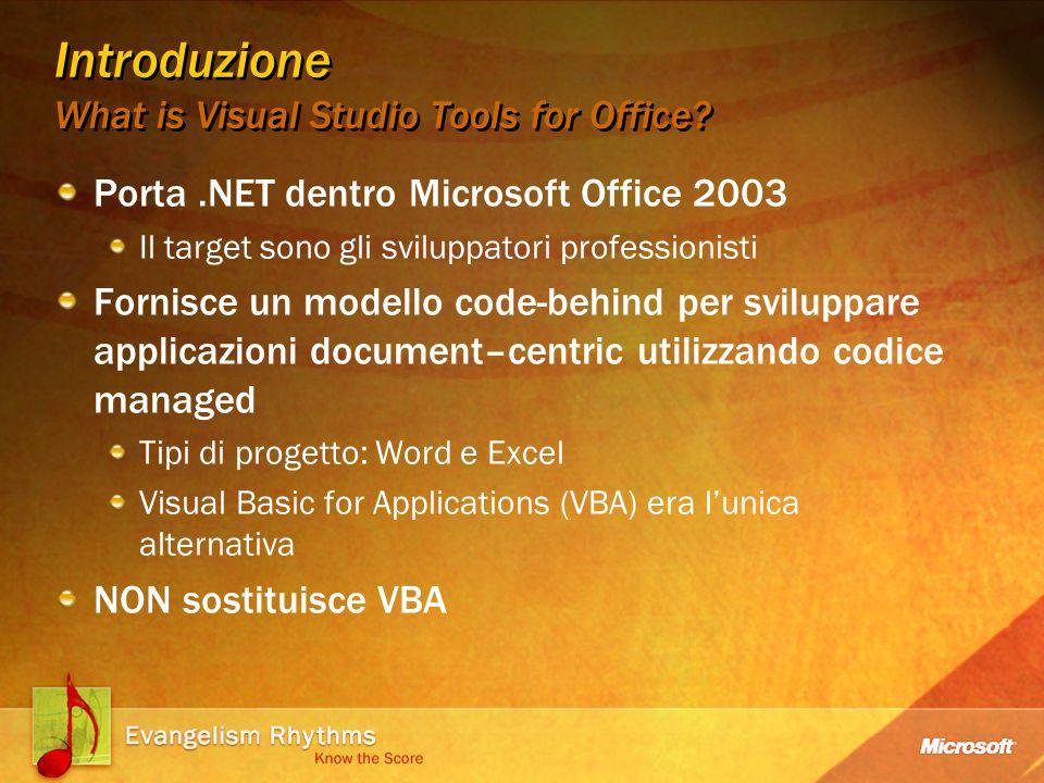 Introduzione La storia di Visual Studio Tools for Office La versione 2003 rilasciata October 2003 Tipi di progetto Visual Basic.NET e Visual C# Word document, Word template, e Excel workbook Fornisce un framework iniziale Sicurezza Integrazione