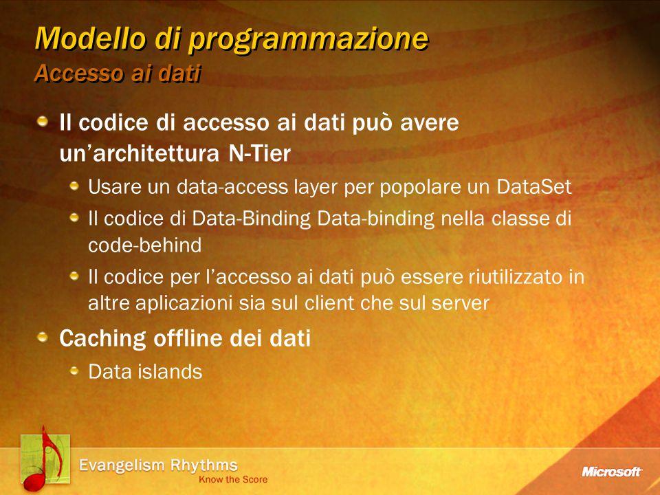 Modello di programmazione Data Islands Può essere utilizzato per informazioni di configurazione Possibilità di aggiornare i dati senza passare per le viste Nessuna necessità di creare un istanza di Office per cambiare i dati Permette processi server-side Richiedere dati dal server Inviare dati al server
