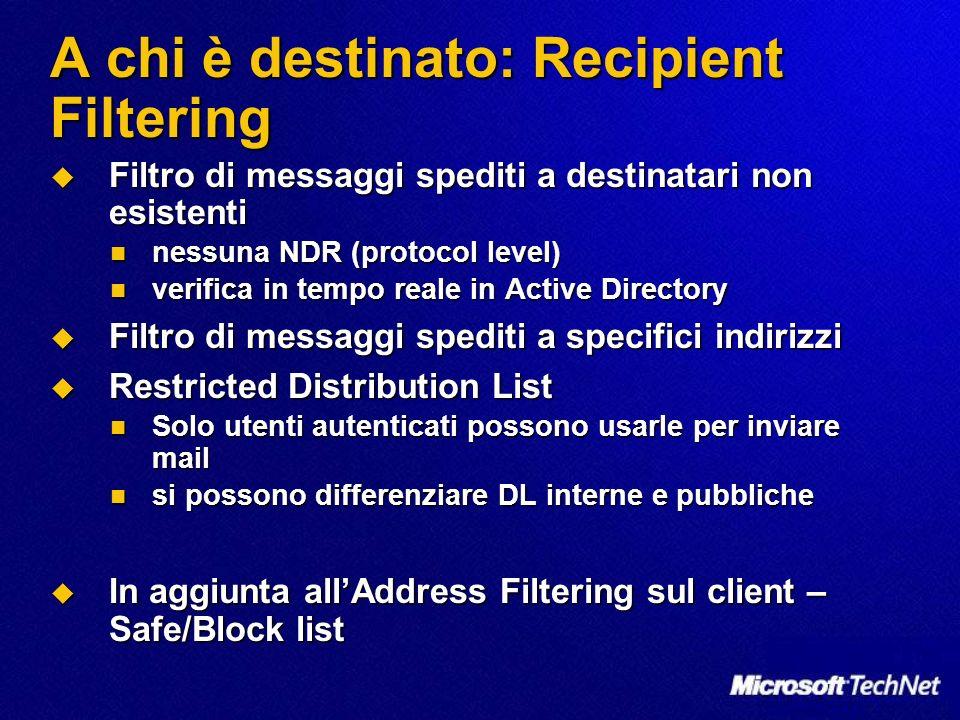 A chi è destinato: Recipient Filtering Filtro di messaggi spediti a destinatari non esistenti Filtro di messaggi spediti a destinatari non esistenti n