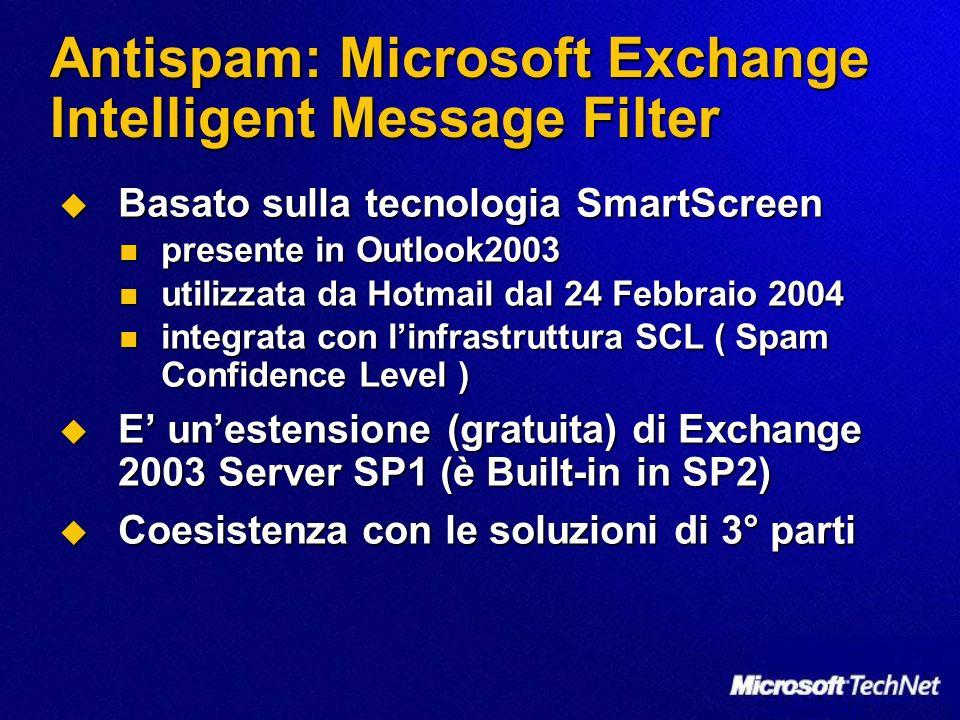 Antispam: Microsoft Exchange Intelligent Message Filter Basato sulla tecnologia SmartScreen Basato sulla tecnologia SmartScreen presente in Outlook200