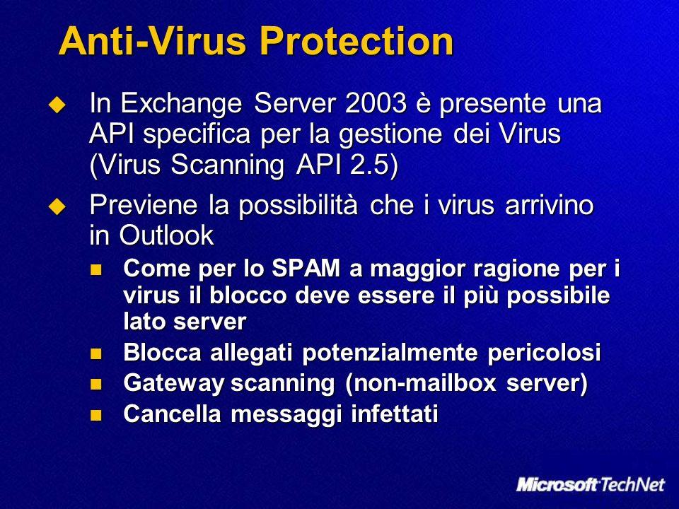 Anti-Virus Protection In Exchange Server 2003 è presente una API specifica per la gestione dei Virus (Virus Scanning API 2.5) In Exchange Server 2003