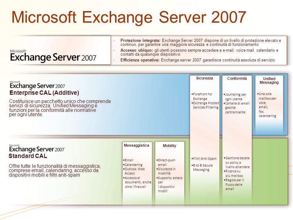 Microsoft Exchange Server 2007 Protezione integrata: Exchange Server 2007 dispone di un livello di protezione elevato e continuo, per garantire una ma