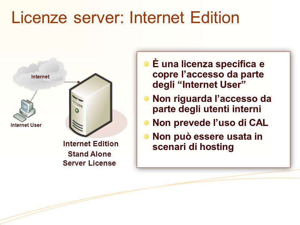 Licenze server: Internet Edition È una licenza specifica e copre laccesso da parte degli Internet User Non riguarda laccesso da parte degli utenti int