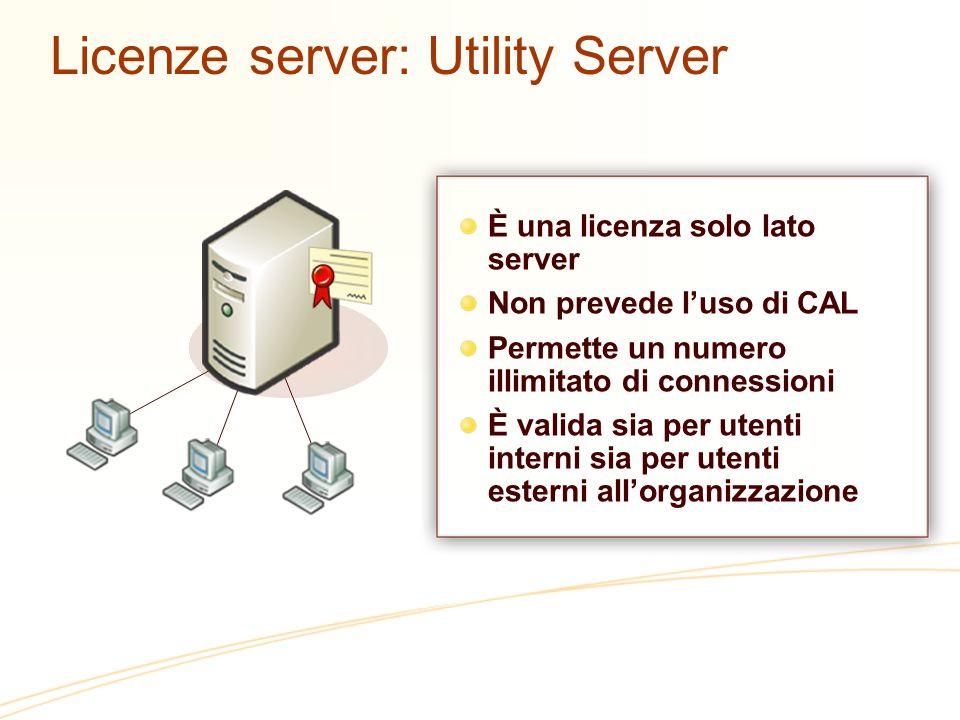 Licenze server: Utility Server È una licenza solo lato server Non prevede luso di CAL Permette un numero illimitato di connessioni È valida sia per utenti interni sia per utenti esterni allorganizzazione