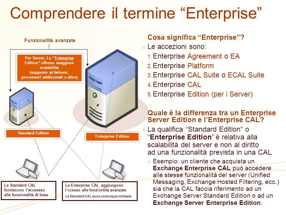 Comprendere il termine Enterprise Funzionallità avanzate Per Server, Le Enterprise Edition offrono maggiore scalabilità (supporto al failover, process
