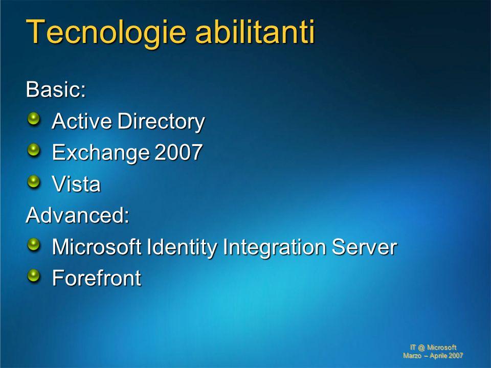 IT @ Microsoft Marzo – Aprile 2007 Tecnologie abilitanti Basic: Active Directory Exchange 2007 VistaAdvanced: Microsoft Identity Integration Server Fo