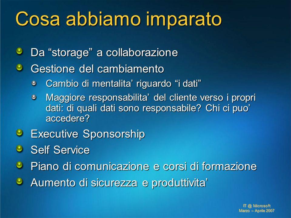 IT @ Microsoft Marzo – Aprile 2007 Cosa abbiamo imparato Da storage a collaborazione Gestione del cambiamento Cambio di mentalita riguardo i dati Magg