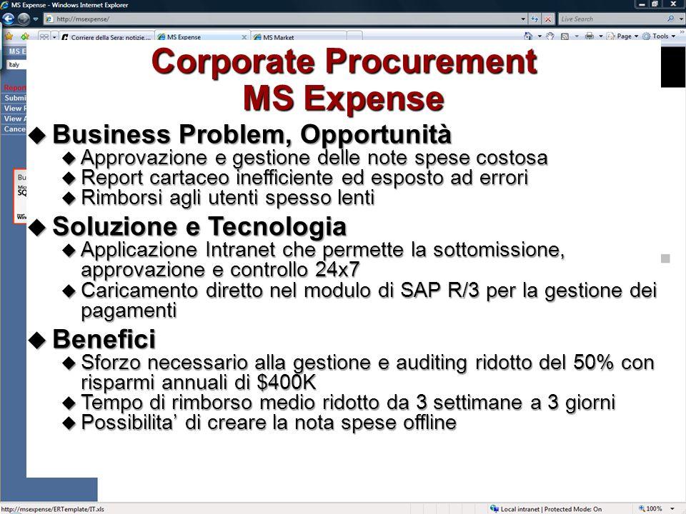 IT @ Microsoft Marzo – Aprile 2007 Corporate Procurement MS Expense Business Problem, Opportunità Business Problem, Opportunità Approvazione e gestion