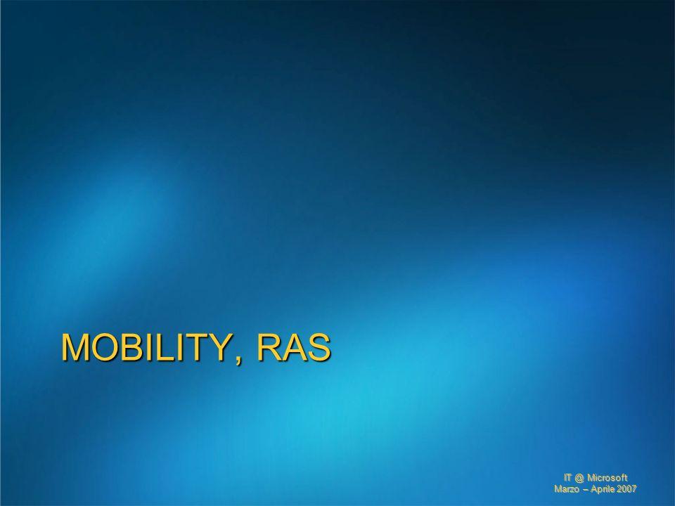 IT @ Microsoft Marzo – Aprile 2007 MOBILITY, RAS
