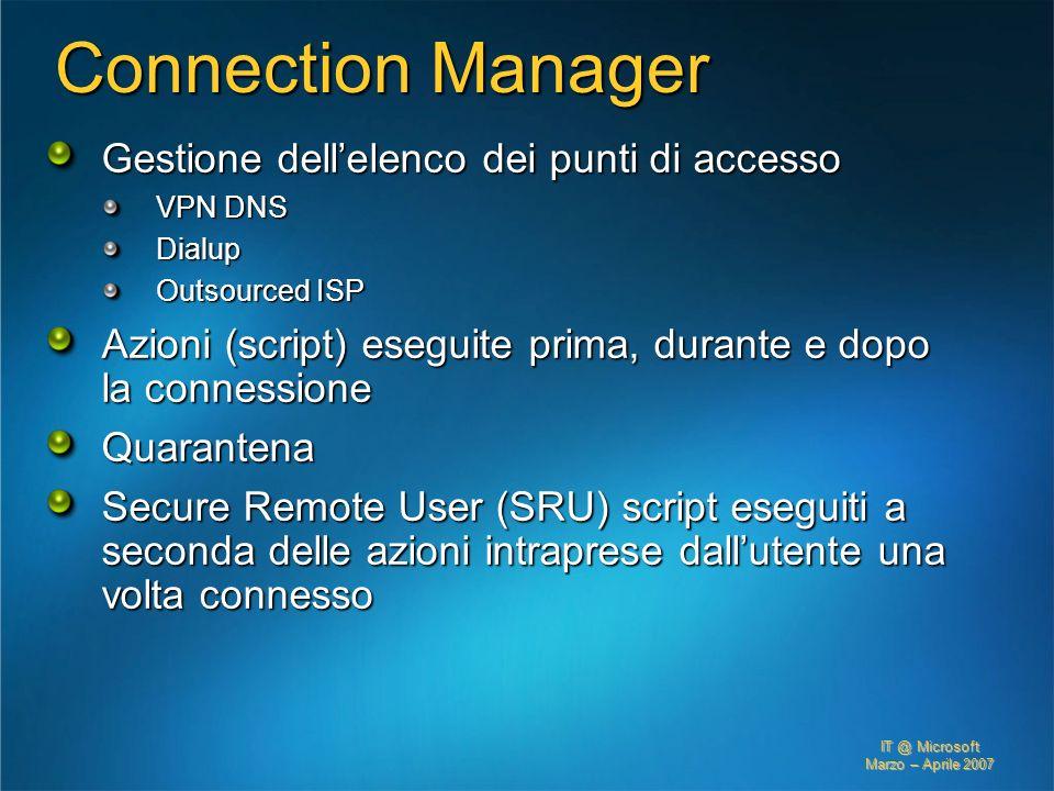 IT @ Microsoft Marzo – Aprile 2007 Connection Manager Gestione dellelenco dei punti di accesso VPN DNS Dialup Outsourced ISP Azioni (script) eseguite