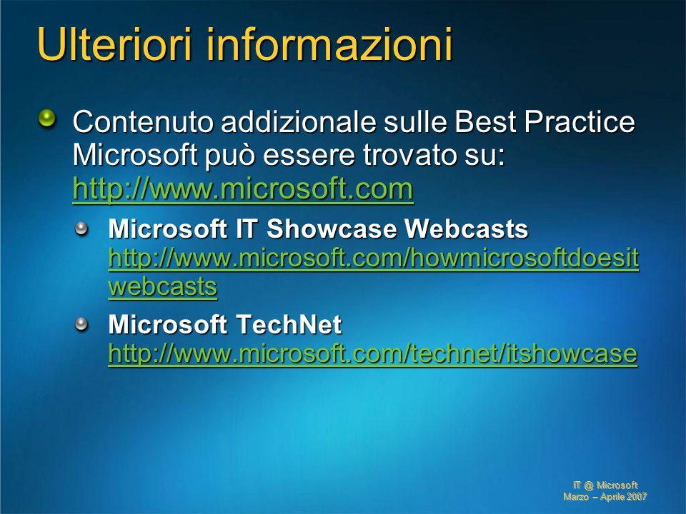 IT @ Microsoft Marzo – Aprile 2007 Ulteriori informazioni Contenuto addizionale sulle Best Practice Microsoft può essere trovato su: http://www.micros
