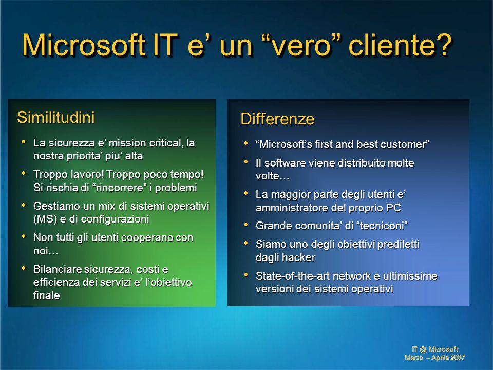 IT @ Microsoft Marzo – Aprile 2007 Similitudini La sicurezza e mission critical, la nostra priorita piu alta La sicurezza e mission critical, la nostr