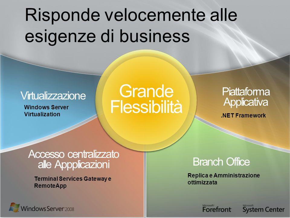 Risponde velocemente alle esigenze di business Piattaforma Applicativa Accesso centralizzato alle Appplicazioni Branch Office Virtualizzazione Grande