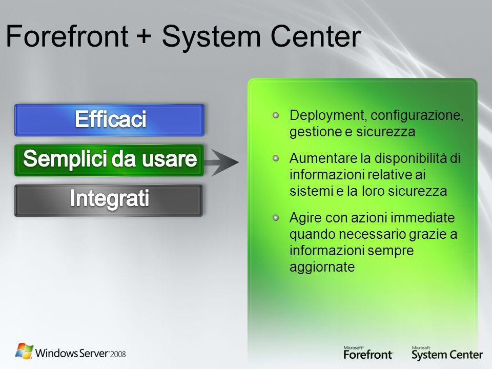 Forefront + System Center Deployment, configurazione, gestione e sicurezza Aumentare la disponibilità di informazioni relative ai sistemi e la loro si