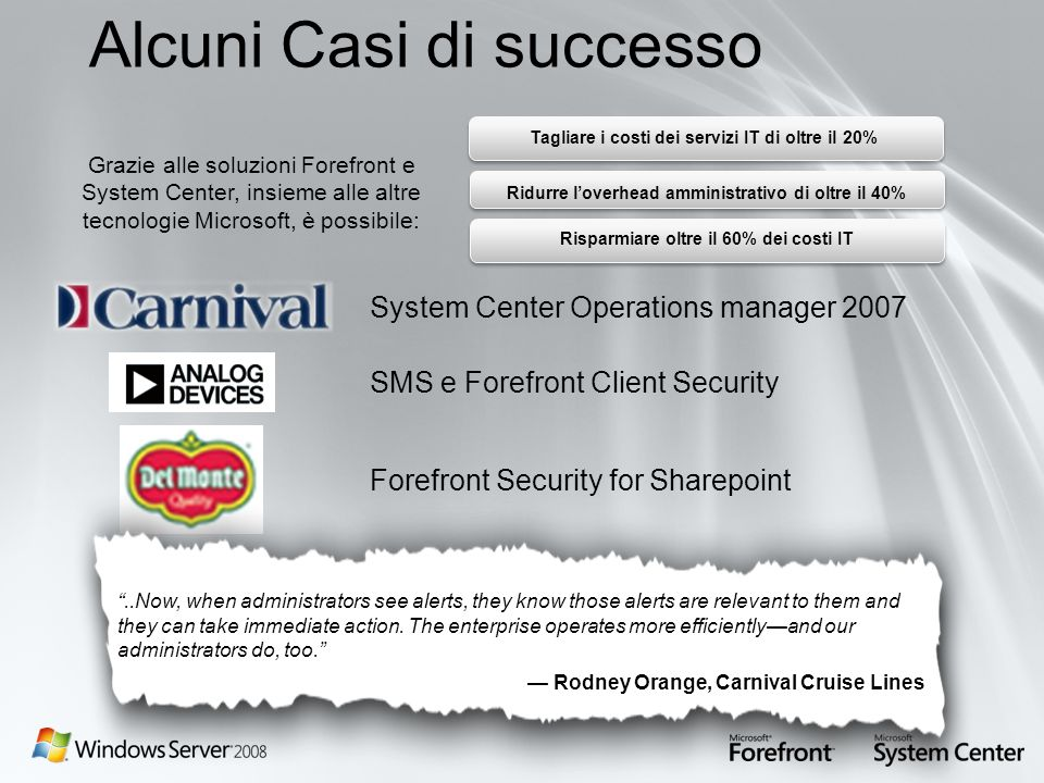 Alcuni Casi di successo System Center Operations manager 2007 SMS e Forefront Client Security Forefront Security for Sharepoint..Now, when administrat