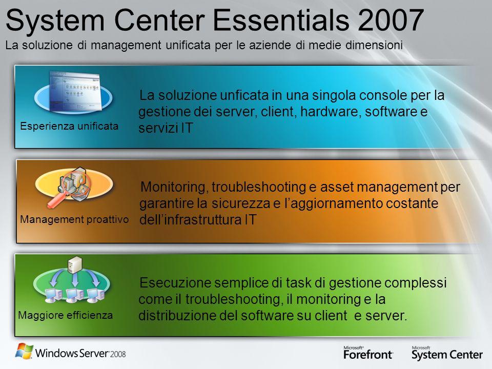 System Center Essentials 2007 La soluzione di management unificata per le aziende di medie dimensioni Monitoring, troubleshooting e asset management p