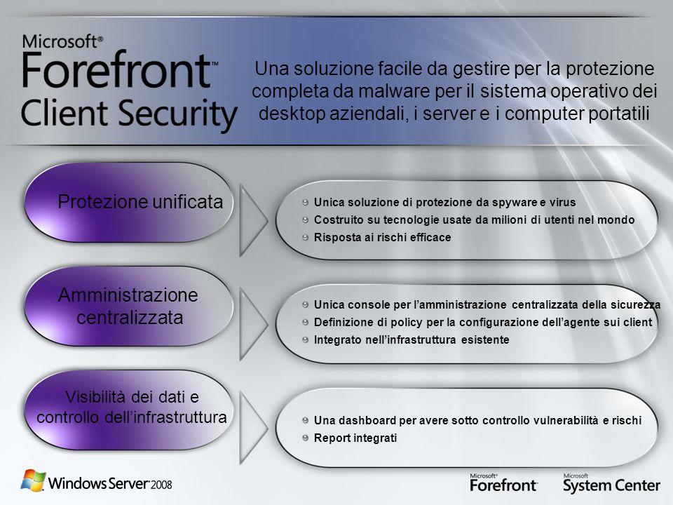 Unica soluzione di protezione da spyware e virus Costruito su tecnologie usate da milioni di utenti nel mondo Risposta ai rischi efficace Unica consol