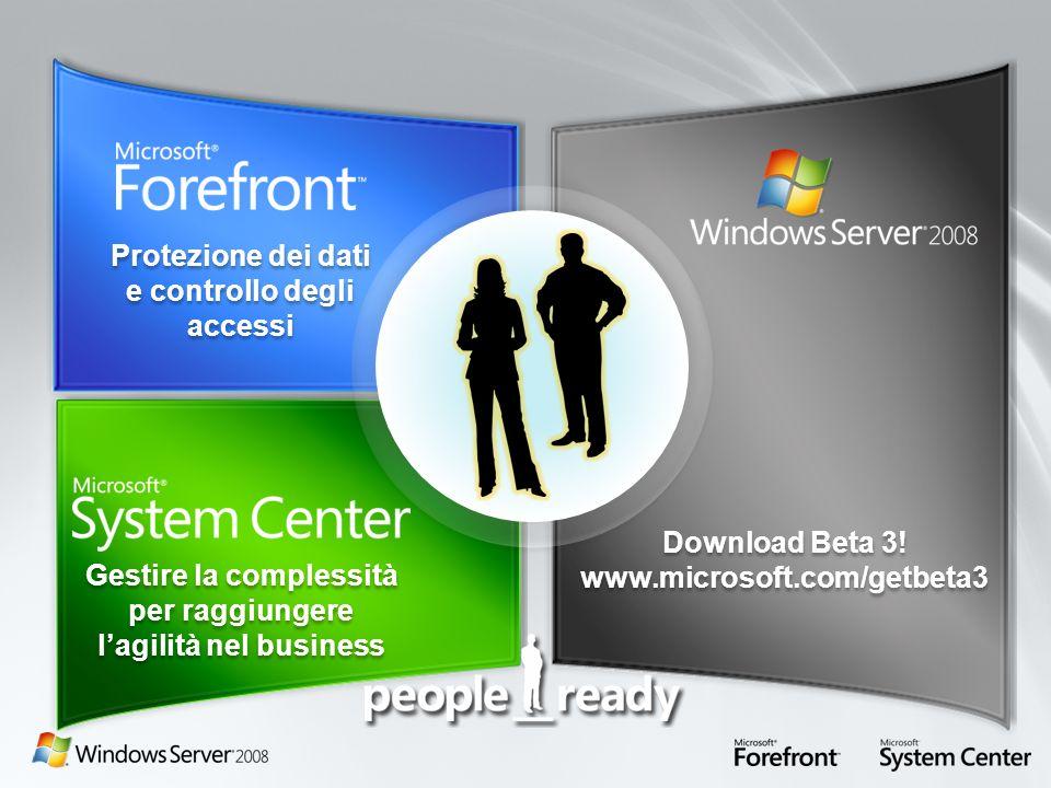 Gestire la complessità per raggiungere lagilità nel business Protezione dei dati e controllo degli accessi Download Beta 3! www.microsoft.com/getbeta3