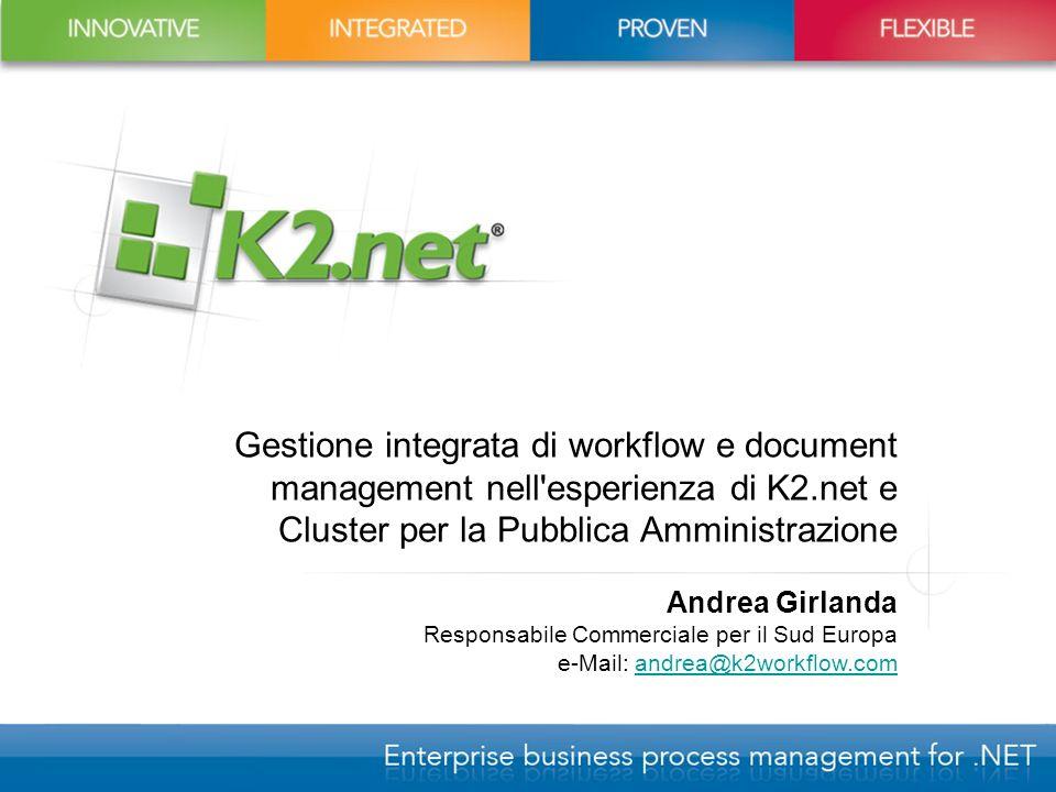 Gestione integrata di workflow e document management nell'esperienza di K2.net e Cluster per la Pubblica Amministrazione Andrea Girlanda Responsabile