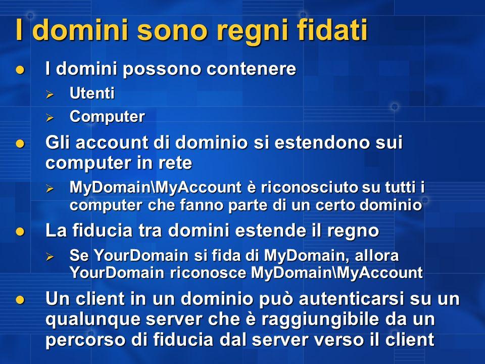 I domini sono regni fidati I domini possono contenere I domini possono contenere Utenti Utenti Computer Computer Gli account di dominio si estendono s
