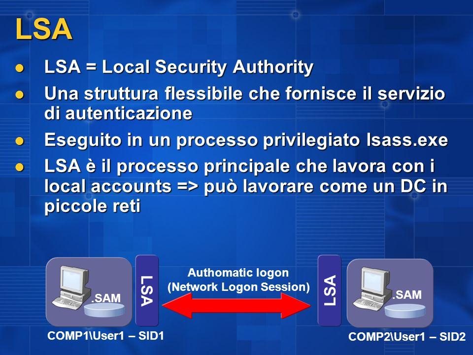 LSA LSA = Local Security Authority LSA = Local Security Authority Una struttura flessibile che fornisce il servizio di autenticazione Una struttura fl