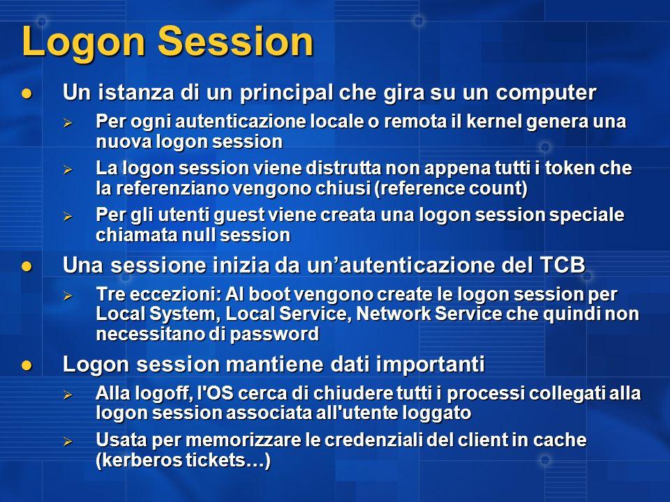 Logon Session Un istanza di un principal che gira su un computer Un istanza di un principal che gira su un computer Per ogni autenticazione locale o r