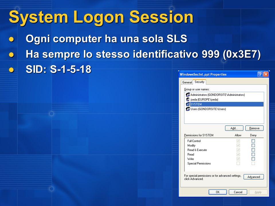 System Logon Session Ogni computer ha una sola SLS Ogni computer ha una sola SLS Ha sempre lo stesso identificativo 999 (0x3E7) Ha sempre lo stesso id