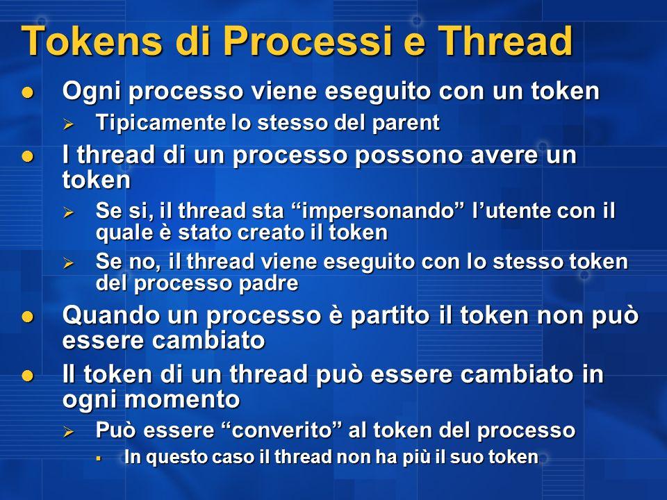 Tokens di Processi e Thread Ogni processo viene eseguito con un token Ogni processo viene eseguito con un token Tipicamente lo stesso del parent Tipic