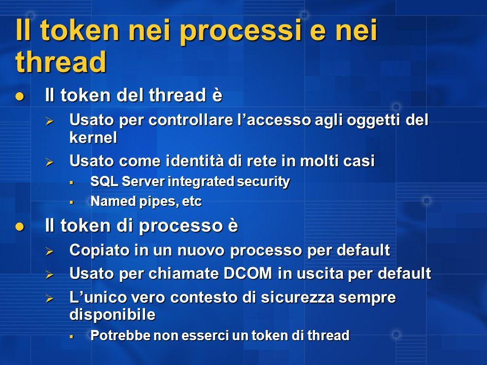 Il token nei processi e nei thread Il token del thread è Il token del thread è Usato per controllare laccesso agli oggetti del kernel Usato per contro