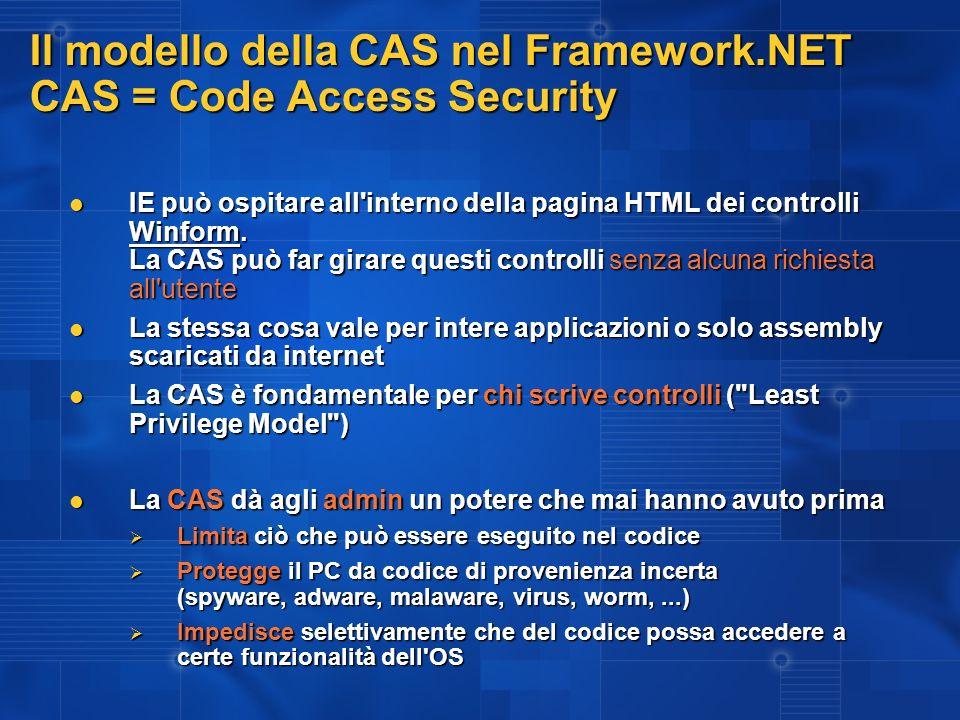 Il modello della CAS nel Framework.NET CAS = Code Access Security IE può ospitare all'interno della pagina HTML dei controlli Winform. La CAS può far
