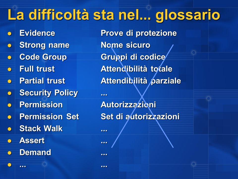 La difficoltà sta nel... glossario EvidenceProve di protezione EvidenceProve di protezione Strong nameNome sicuro Strong nameNome sicuro Code GroupGru