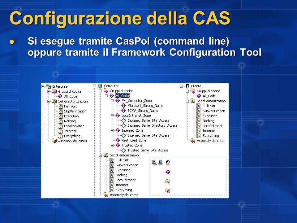 Configurazione della CAS Si esegue tramite CasPol (command line) oppure tramite il Framework Configuration Tool Si esegue tramite CasPol (command line