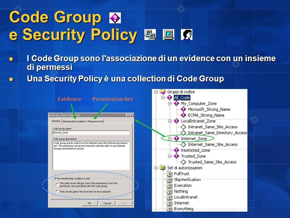 Code Group e Security Policy I Code Group sono l'associazione di un evidence con un insieme di permessi I Code Group sono l'associazione di un evidenc