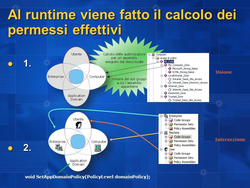 Al runtime viene fatto il calcolo dei permessi effettivi 1. 1. 2. 2. Unione Intersezione void SetAppDomainPolicy(PolicyLevel domainPolicy);