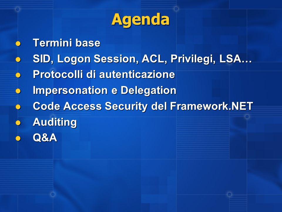 Configurazione della CAS Si esegue tramite CasPol (command line) oppure tramite il Framework Configuration Tool Si esegue tramite CasPol (command line) oppure tramite il Framework Configuration Tool