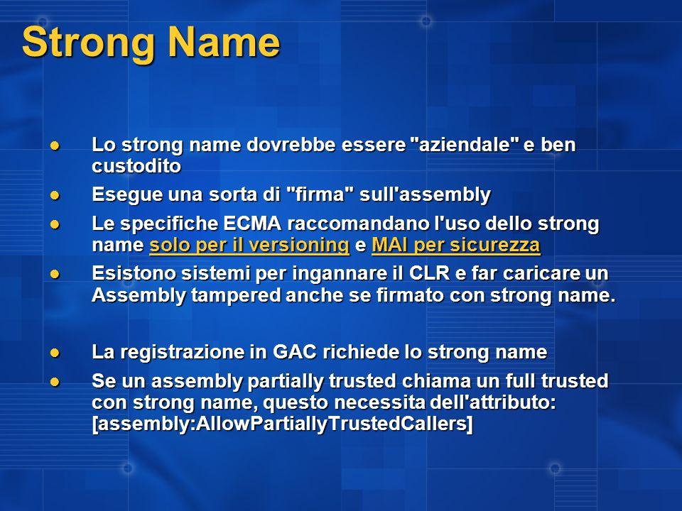 Strong Name Lo strong name dovrebbe essere