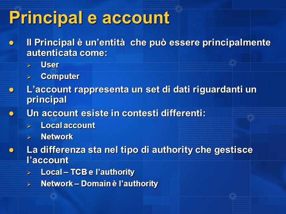I domini sono regni fidati I domini possono contenere I domini possono contenere Utenti Utenti Computer Computer Gli account di dominio si estendono sui computer in rete Gli account di dominio si estendono sui computer in rete MyDomain\MyAccount è riconosciuto su tutti i computer che fanno parte di un certo dominio MyDomain\MyAccount è riconosciuto su tutti i computer che fanno parte di un certo dominio La fiducia tra domini estende il regno La fiducia tra domini estende il regno Se YourDomain si fida di MyDomain, allora YourDomain riconosce MyDomain\MyAccount Se YourDomain si fida di MyDomain, allora YourDomain riconosce MyDomain\MyAccount Un client in un dominio può autenticarsi su un qualunque server che è raggiungibile da un percorso di fiducia dal server verso il client Un client in un dominio può autenticarsi su un qualunque server che è raggiungibile da un percorso di fiducia dal server verso il client