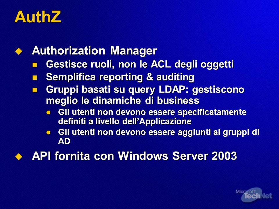 AuthZ Authorization Manager Authorization Manager Gestisce ruoli, non le ACL degli oggetti Gestisce ruoli, non le ACL degli oggetti Semplifica reporting & auditing Semplifica reporting & auditing Gruppi basati su query LDAP: gestiscono meglio le dinamiche di business Gruppi basati su query LDAP: gestiscono meglio le dinamiche di business Gli utenti non devono essere specificatamente definiti a livello dellApplicazione Gli utenti non devono essere specificatamente definiti a livello dellApplicazione Gli utenti non devono essere aggiunti ai gruppi di AD Gli utenti non devono essere aggiunti ai gruppi di AD API fornita con Windows Server 2003 API fornita con Windows Server 2003