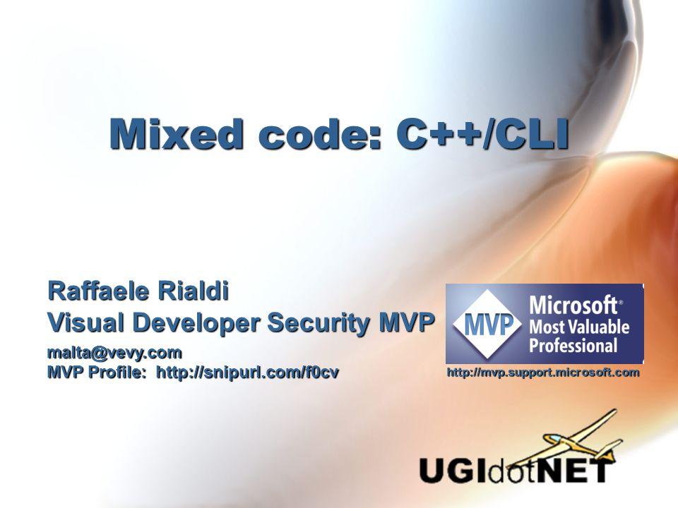Agenda Perché usare C++...perché C++/CLIPerché usare C++...