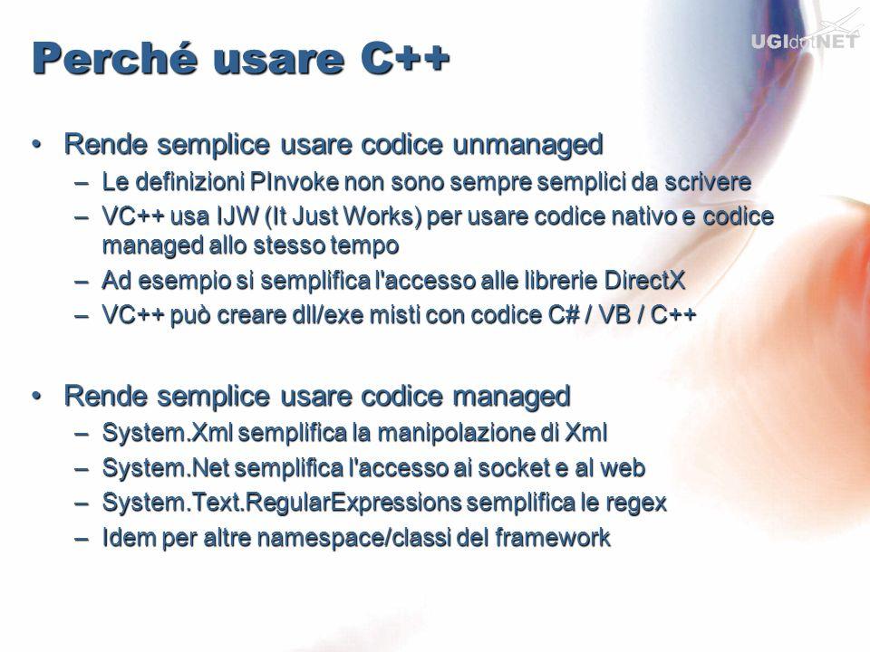 Perché usare C++ Rende semplice usare codice unmanagedRende semplice usare codice unmanaged –Le definizioni PInvoke non sono sempre semplici da scrive