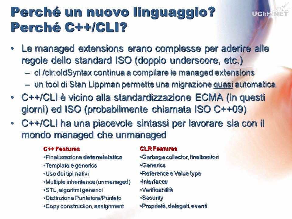 Perché un nuovo linguaggio? Perché C++/CLI? Le managed extensions erano complesse per aderire alle regole dello standard ISO (doppio underscore, etc.)