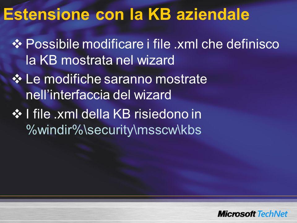 Estensione con la KB aziendale Possibile modificare i file.xml che definisco la KB mostrata nel wizard Le modifiche saranno mostrate nellinterfaccia d