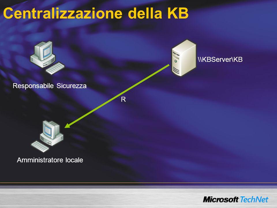 Centralizzazione della KB \\KBServer\KB Responsabile Sicurezza Amministratore locale R