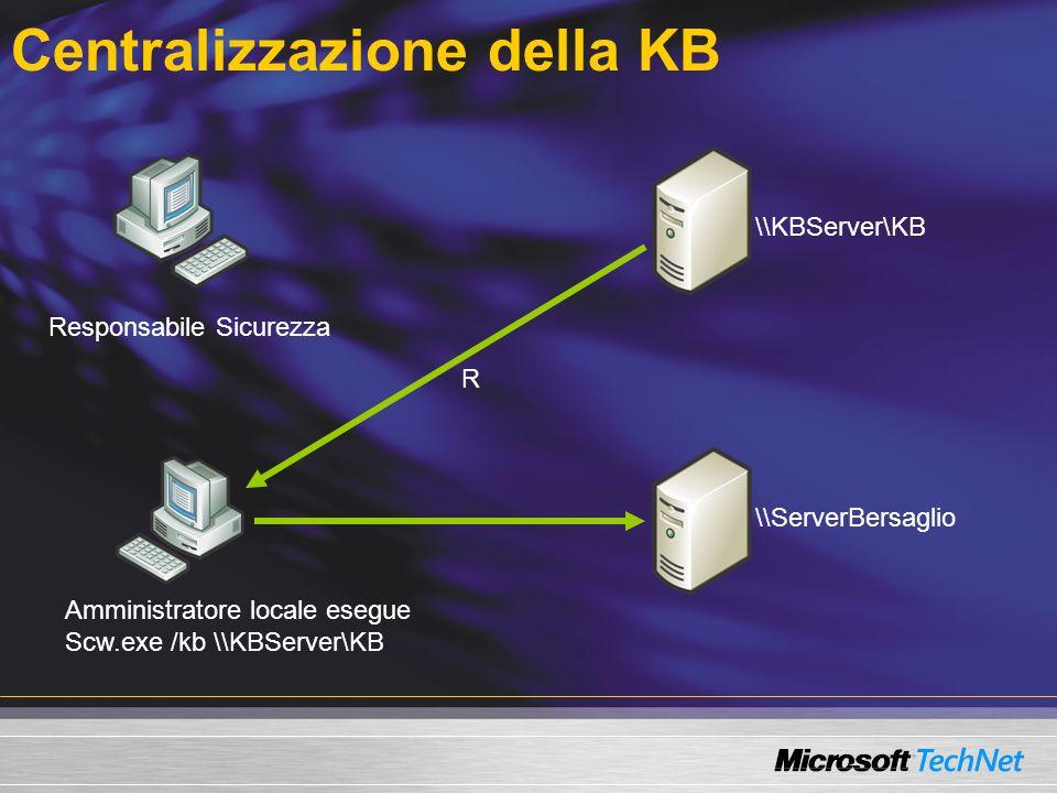 Centralizzazione della KB \\KBServer\KB Responsabile Sicurezza Amministratore locale esegue Scw.exe /kb \\KBServer\KB \\ServerBersaglio R