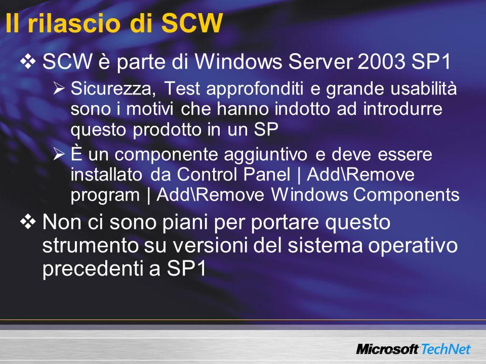 Il rilascio di SCW SCW è parte di Windows Server 2003 SP1 Sicurezza, Test approfonditi e grande usabilità sono i motivi che hanno indotto ad introdurr