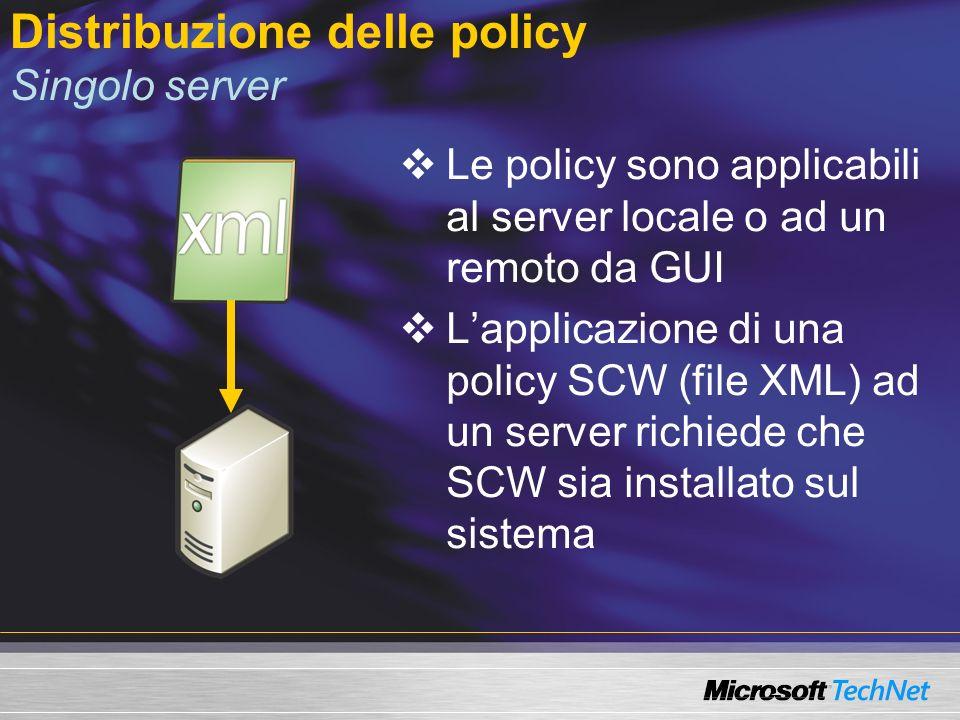 Distribuzione delle policy Server multipli via Command Line Tool CLI scwcmd.exe File MachineList.xml con elenco delle macchine a cui applicare le policy (mappatura policy-macchina) Scwcmd.exe consuma MachineList.xml e applica lappropriato file di configurazione allappropriata macchina (multi thread) SCW deve essere installato sui server bersaglio Metodo analogo usato per lanalisi di compatibilità Policy1.xmlPolicy2.xml MachineList.xml Scwcmd.exe
