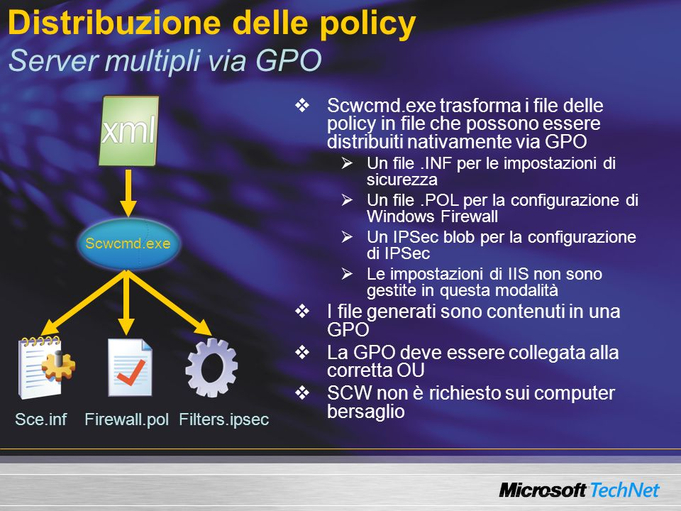 Distribuzione delle policy Server multipli via GPO Scwcmd.exe trasforma i file delle policy in file che possono essere distribuiti nativamente via GPO