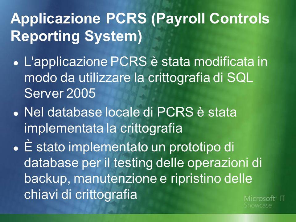 L applicazione PCRS è stata modificata in modo da utilizzare la crittografia di SQL Server 2005 Nel database locale di PCRS è stata implementata la crittografia È stato implementato un prototipo di database per il testing delle operazioni di backup, manutenzione e ripristino delle chiavi di crittografia